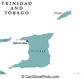 Trinidad and Tobago political map with capital Port of...