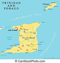 Trinidad and Tobago political map with capital Port of Spain. Twin island country in the Windward Islands and Lesser Antilles. English labeling and scaling. Illustration.