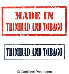 Set of stamps with text Trinidad and Tobago, vector illustration