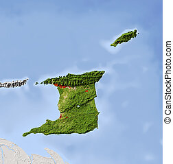 Trinidad and Tobago, shaded relief map. Colored according to vegetation, with major urban areas. Includes clip path for the state boundary.