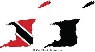 trinidad and tobago - vector map and flag of Trinidad and...