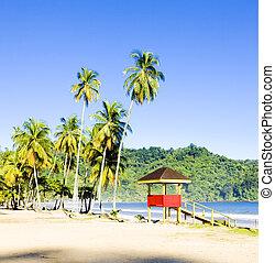 trinidad, bay;, cabaña, beach;, maracas