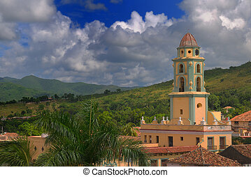 Trinidad cityscape, cuba - Detail of church tower in ...