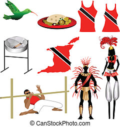 Trinidad Icons 2 - Vector Illustration of 9 different...