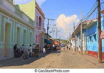 Trinidad - A paved street in Trinidad, Cuba