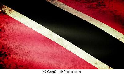 Trinidad Tobago Flag Waving, grunge look