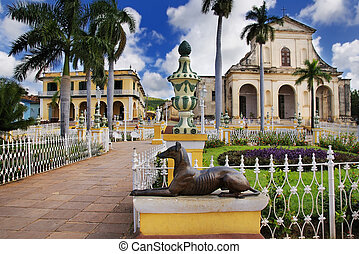 Trinidad town, cuba - A view of plaza mayor in Trinidad, ...