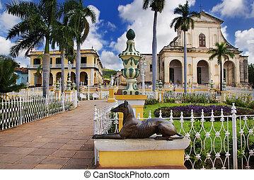 Trinidad town, cuba - A view of plaza mayor in Trinidad,...