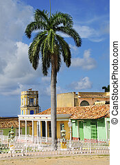 Trinidad town, cuba - Detail of trinidad town plaza with...