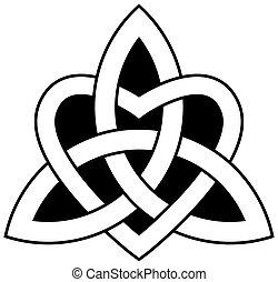 trinité, (triquetra), celtique, noeud
