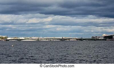 Trinity Bridge across the Neva River, timelapse