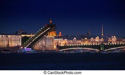 Trinity Bridge at night, St.Petersburg, Russia.