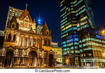Trinity Church and the John Hancock Building at night, at...