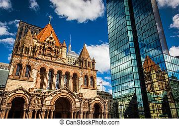 Trinity Church and the John Hancock Building in Boston,...