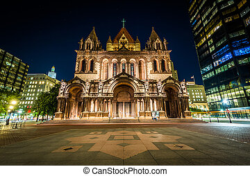 Trinity Church at night, at Copley Square, in Boston,...