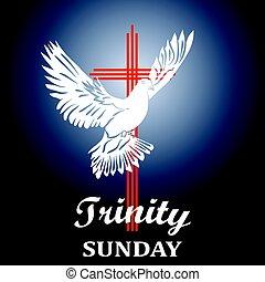 Trinity sunday. Christian church concept. Church sacrament symbol. Holy spirit. Biblical tongues of fire, cross, holy spirit dove. Vector illustration.