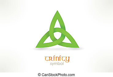Trinity symbol, triqueta - Interwoven line forming a three...