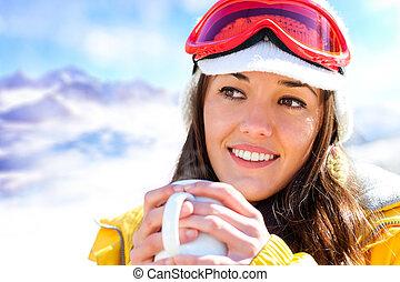 trinken, coffee., weibliche , skier