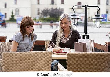 Trinken, Dame, zwei, bohnenkaffee, junger