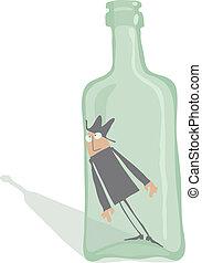 trinker, innenseite, der, flasche