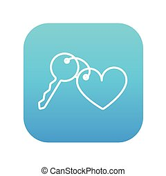 Trinket for keys as heart line icon.
