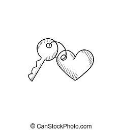 Trinket for keys as heart sketch icon. - Trinket for keys as...