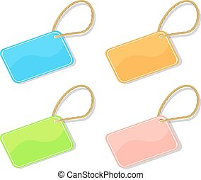 trinket tags - Set of shiny trinket TAGS different colors on...