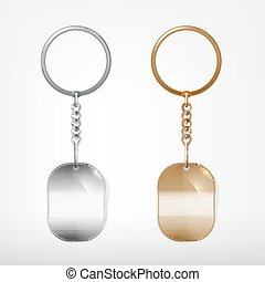 Trinket - Vector illustration of a blank metal oval keychain...
