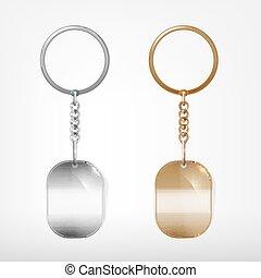 Trinket - Vector illustration of a blank metal oval keychain...