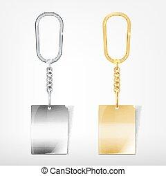 Trinket - Vector illustration of a blank metal rectangular...