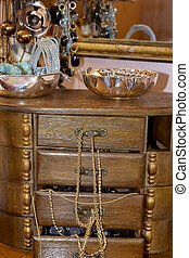 trinkets and fashion objects in a casket