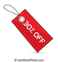 trinta, cento, desligado, vermelho, desconto, venda, papel, etiqueta, tag, com, cadeias