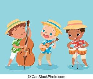 illustration of children playing music instrument in hawaii shirt. boy playing bongo drum. boy playing ukulele. boy playing double bass.