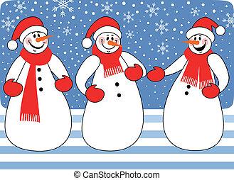 trio, bonecos neve