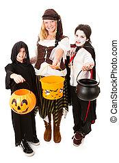 trio, crianças, dia das bruxas