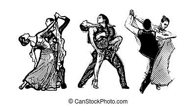 trio, dansare, klassisk