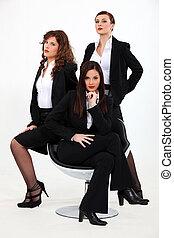 trio, dynamique, femmes affaires