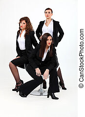 trio, dynamisch, businesswomen
