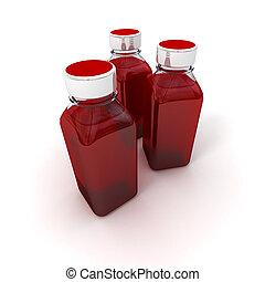 trio, flaschen, wenig, rotes , blut