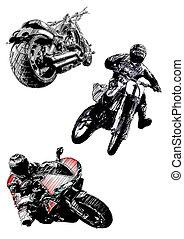 trio, motocyclettes