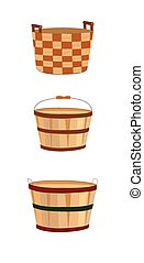 wooden baskets - trio od wooden baskets in various styles ...