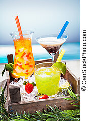 Trio of colourful tropical cocktails