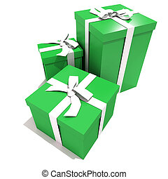 Trio of green and white gift boxes