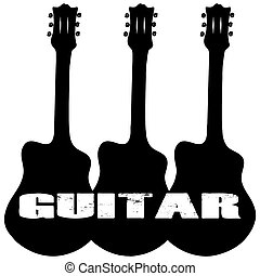 Trio of Guitars with GUITAR text Silhouette on White with Clipping Path