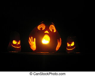 Trio of Halloween pumpkins