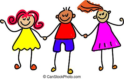 happy kids - trio of happy kids holding hands