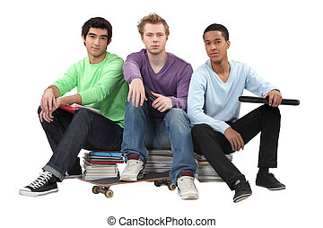 trio of male students