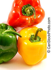 Trio of peppers - yellow, green, red