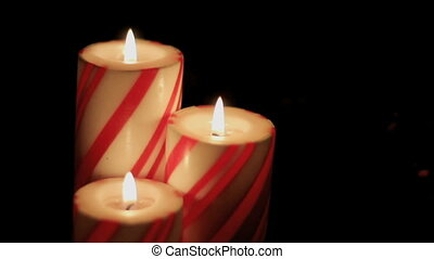trio of striped christmas candles - trio of red and white...