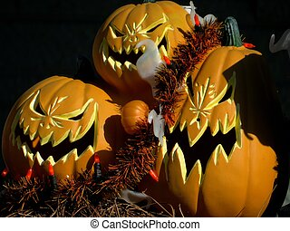 Trio scary pumpkins